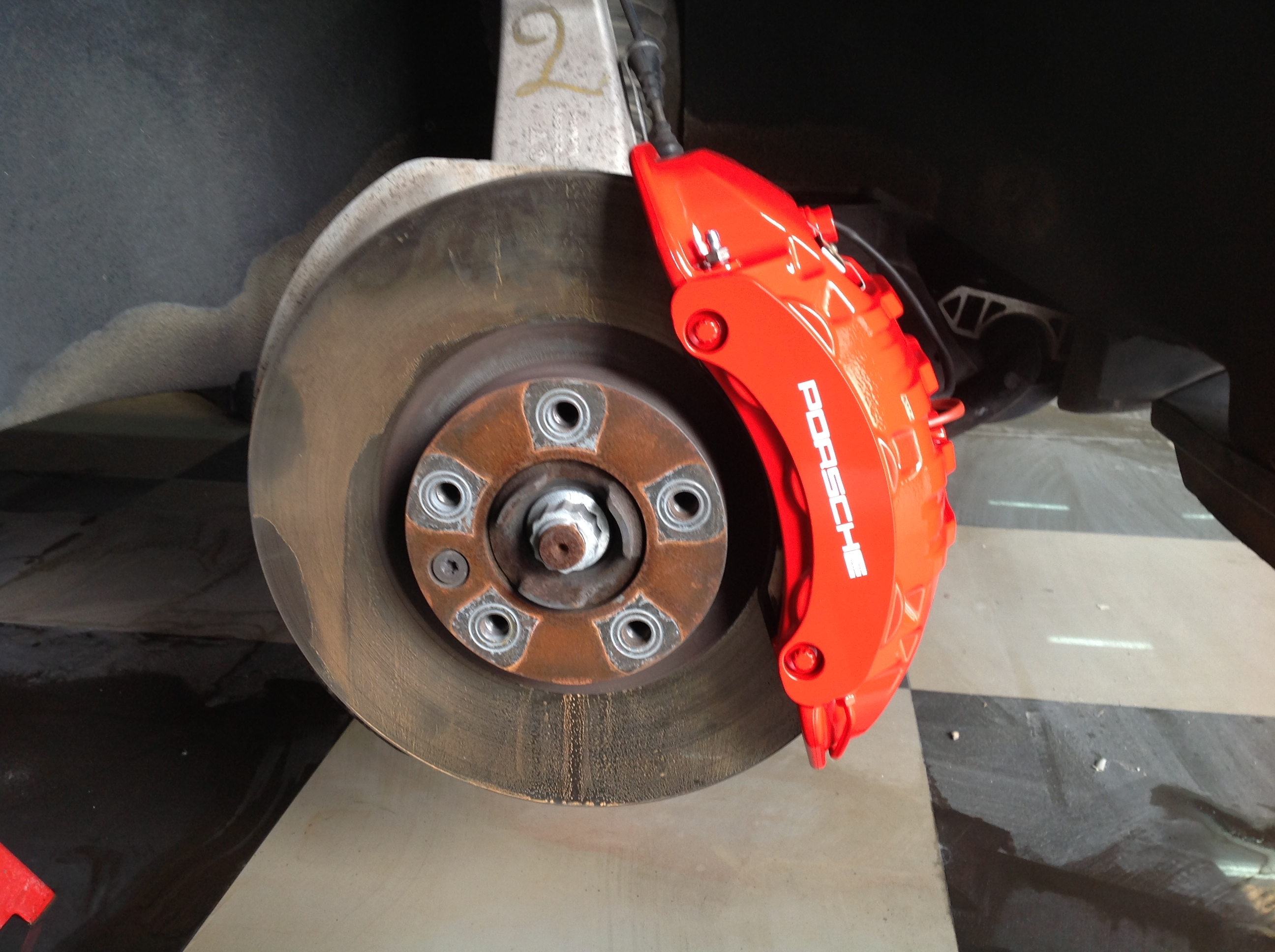Cayenne brake caliper after