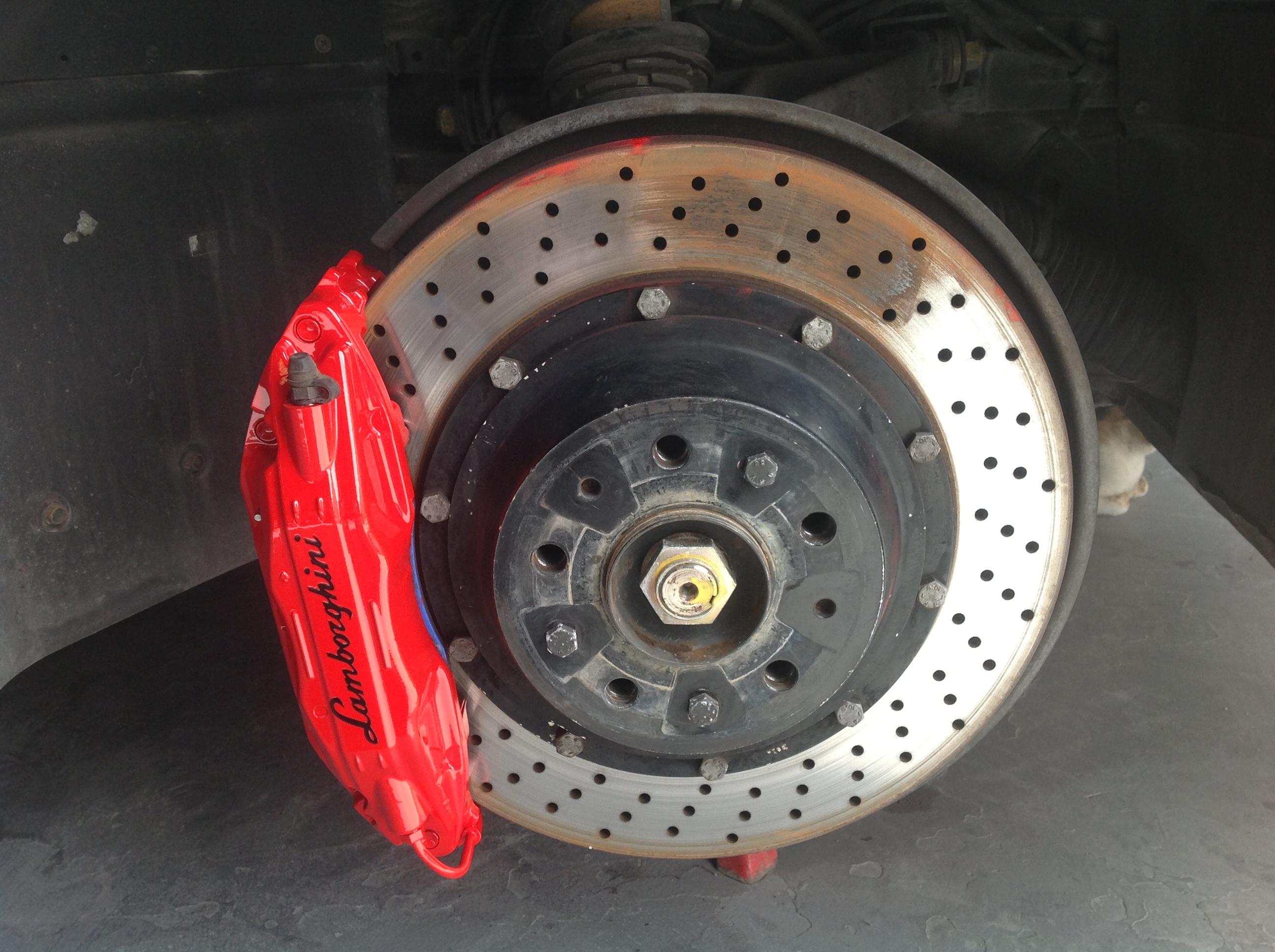 murcielago red brake caliper after